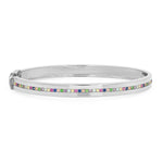 White Gold Bangle with Multi Colored Row