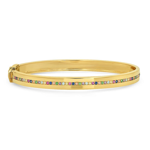 Yellow Gold Bangle with Multi Colored Row