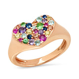 Rose Gold Multi Colored Smushed  Heart Pinky Ring