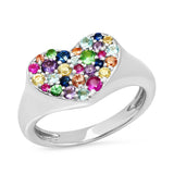 White Gold Multi Colored Smushed  Heart Pinky Ring