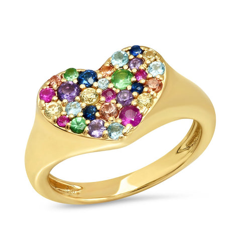Yellow Gold Multi Colored Smushed  Heart Pinky Ring