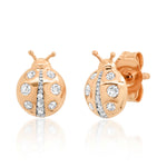 Rose Gold Diamond Ladybug Studs