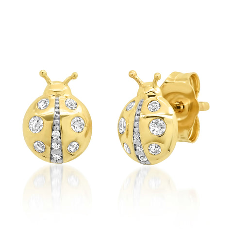 Yellow Gold Diamond Ladybug Studs