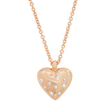 Rose Gold Small Reversible Diamond and Gold Puffy Heart Necklace