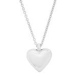 White Gold Small Reversible Diamond and Gold Puffy Heart Necklace