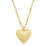 Yellow Gold Small Reversible Diamond and Gold Puffy Heart Necklace