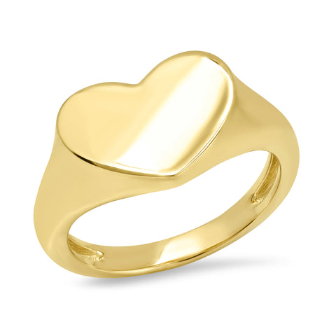 Yellow Gold Smushed Heart Pinky Ring