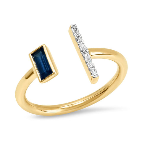 Yellow Gold Open Blue Sapphire and Diamond Bar Ring