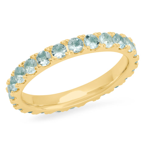 14K Yellow Gold Large Aquamarine Eternity Band