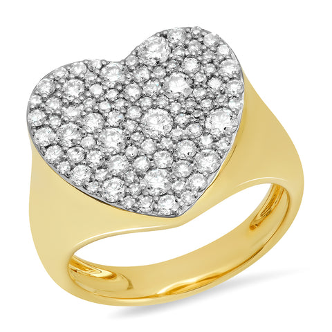 Yellow Gold Diamond Heart Signet Ring