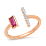 Rose Gold Open Ruby and Diamond Bar Ring