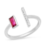 White Gold Open Ruby and Diamond Bar Ring