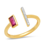 Yellow Gold Open Ruby and Diamond Bar Ring