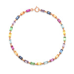Rose Gold Multi Colored Baguette Link Bracelet