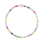 White Gold Multi Colored Baguette Link Bracelet