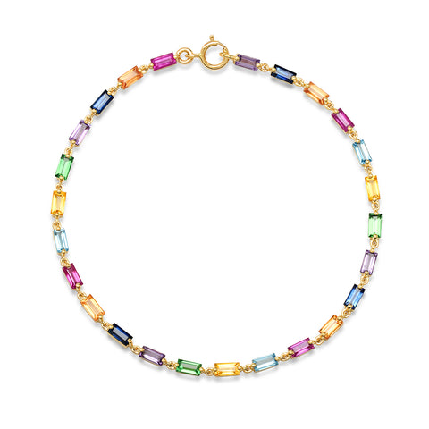 Yellow Gold Multi Colored Baguette Link Bracelet
