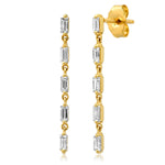 Yellow Gold Diamond Baguette Strand Earrings