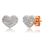 Rose Gold Diamond Smushed Heart Studs