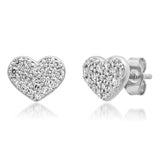 White Gold Diamond Smushed Heart Studs