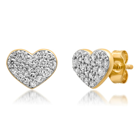 Yellow Gold Diamond Smushed Heart Studs