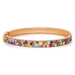 14K Rose Gold Multi Colored Cluster Bangle