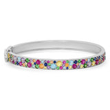 14K White Gold Multi Colored Cluster Bangle