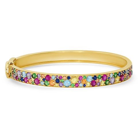 14K Yellow Gold Multi Colored Cluster Bangle