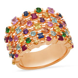 Rose Gold Multi Colored Confetti Ring
