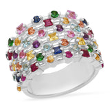 White Gold Multi Colored Confetti Ring