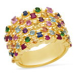 Yellow Gold Multi Colored Confetti Ring