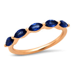 Rose Gold Blue Sapphire Marquise Half Eternity Band