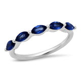 White Gold Blue Sapphire Marquise Half Eternity Band