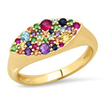 Yellow Gold Multi Colored Evil Eye Signet Ring