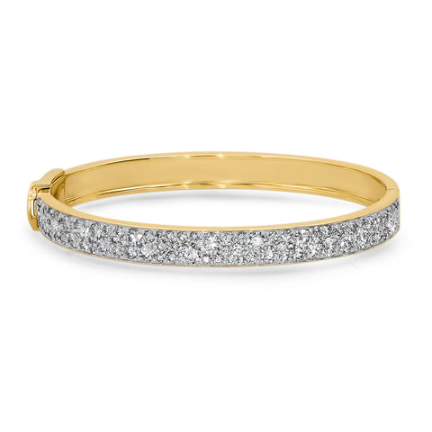 14K Yellow Gold Diamond Cluster Bangle