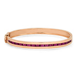 14K Rose Gold Ruby Baguette Row Bangle