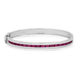 14K White Gold Ruby Baguette Row Bangle