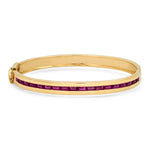 14K Yellow Gold Ruby Baguette Row Bangle