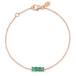 14K Rose Gold Triple Emerald Princess Cut Bracelet