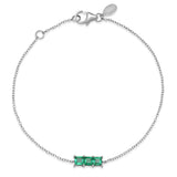 14K White Gold Triple Emerald Princess Cut Bracelet