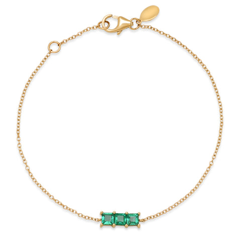 14K Yellow Gold Triple Emerald Princess Cut Bracelet