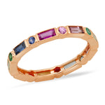 14K Rose Gold Bezel Set Round and Baguette Rainbow Ring