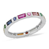 14K White Gold Bezel Set Round and Baguette Rainbow Ring