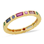 14K Yellow Gold Bezel Set Round and Baguette Rainbow Ring