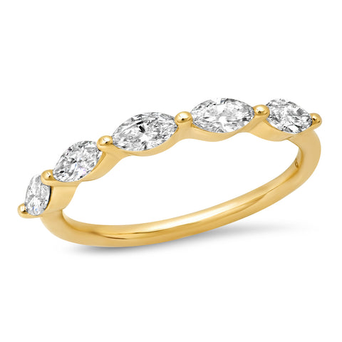 Yellow Gold Diamond Marquise Half Eternity Band