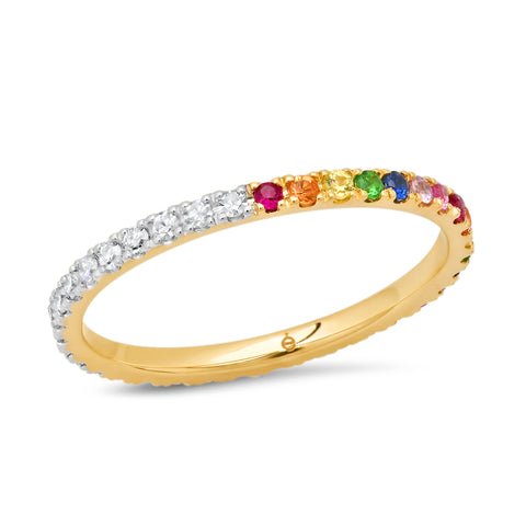 14K Yellow Gold Rainbow and Diamond Eternity Band