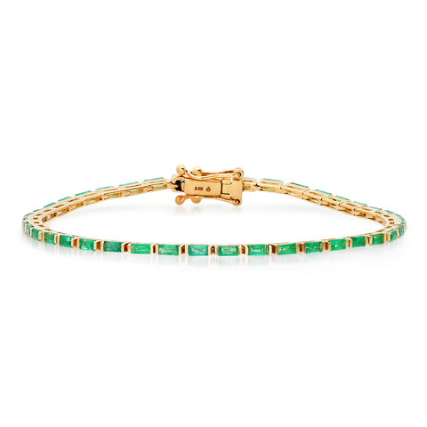 14K Yellow Gold Emerald Baguette Tennis Bracelet
