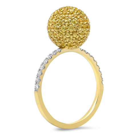 14K Yellow Gold Yellow Sapphire Disco Ball Ring