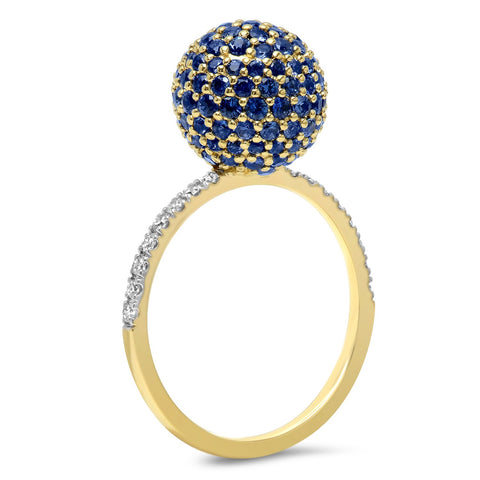 14K Yellow Gold Blue Sapphire Disco Ball Ring