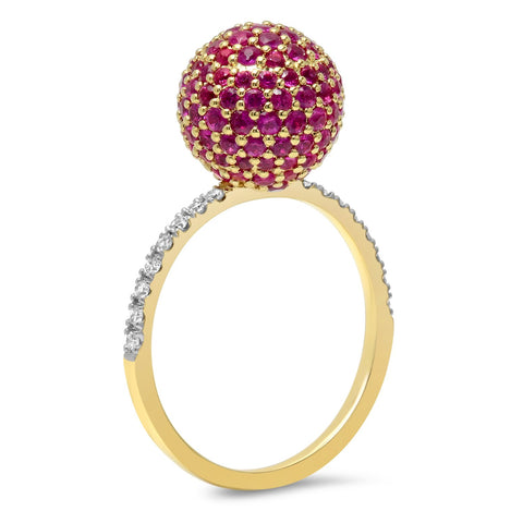 14K Yellow Gold Ruby Disco Ball Ring