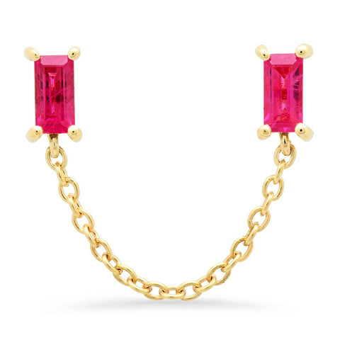 Eriness Jewelry Ruby Baguette Chain Stud